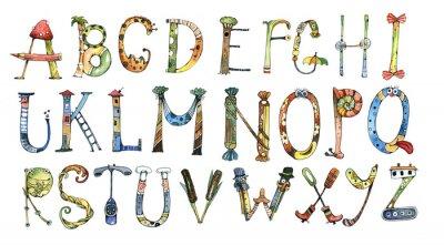 Sticker Alphabet, lettre, aquarelle