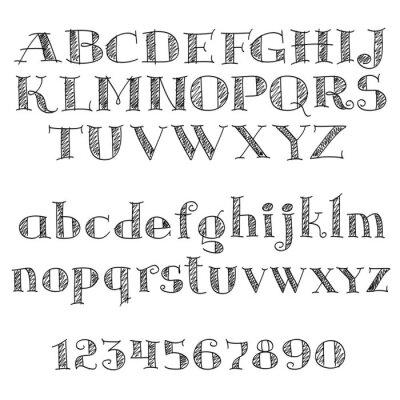 Sticker Alphabet lettres police avec hachures croisées