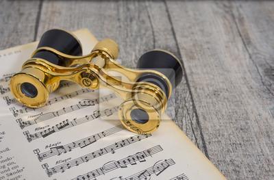Sticker altes antikes goldenes opernglas, fernglas für opéra