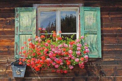 Sticker altes Holzfenster mit Blumenkasten