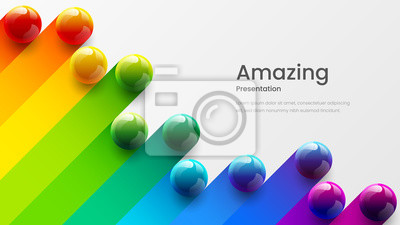 Sticker Amazing abstract vector 3D colorful balls illustration template for poster, flyer, magazine, journal, brochure, book cover. Corporate web site landing page minimal background and banner design layout.