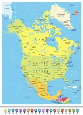 Sticker Amérique du Nord Carte politique détaillée avec icônes de navigation