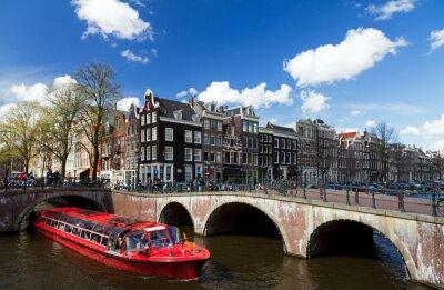 Sticker Amsterdam, canal, intersection, rouges, croisière, bateau, Été ...