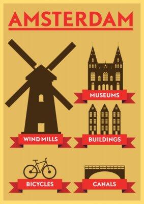 Sticker Amsterdam City Conception de typographie