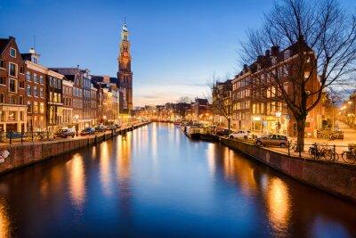 Sticker Amsterdam dans la nuit, Pays-Bas