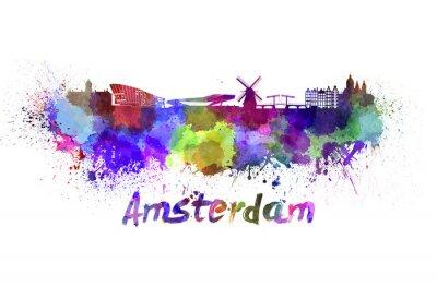 Sticker Amsterdam horizon à l'aquarelle