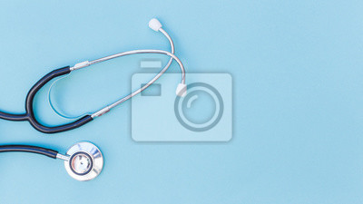 Sticker An elevated view of stethoscope over blue background