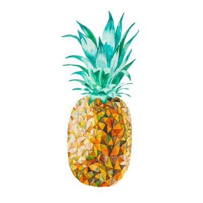Sticker Ananas basse poly aquarelle
