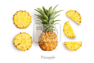 Sticker Ananas frais et coupé