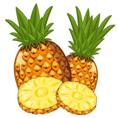 Sticker Ananas isolé sur fond blanc.