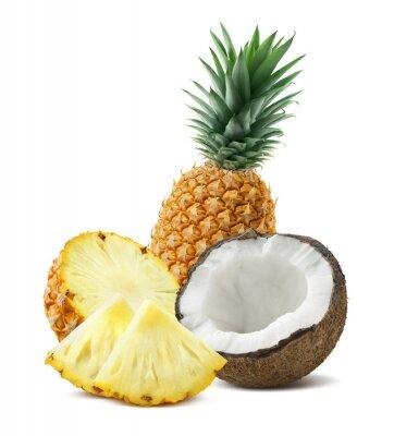 Sticker Ananas, noix coco, morceaux, composition, 4, isolé, blanc, backgro