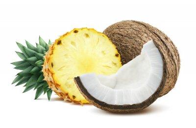 Sticker Ananas, noix de coco, morceaux, composition, isolé, blanc, backgro