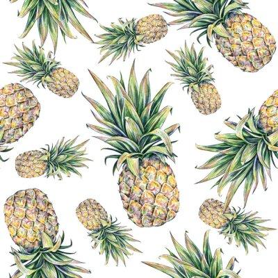 Sticker Ananas sur un fond blanc. Seamless