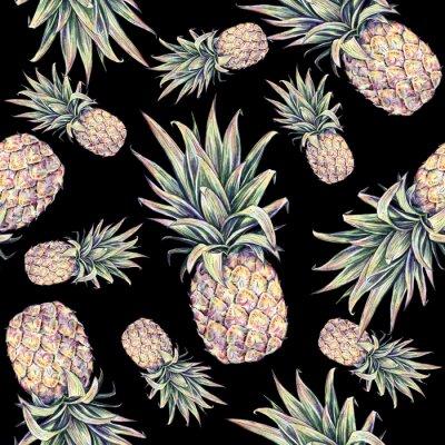 Sticker Ananas sur un fond noir. Illustration colorée d'aquarelle. Fruit exotique. Seamless, modèle