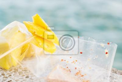 Ananas, tranche, nourriture, rue, Asiatique, style