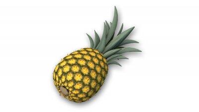 Sticker Ananas, tropical, fruit, isolé, blanc, fond, gros plan, vue