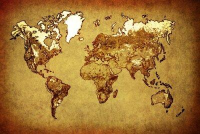 Sticker ancienne carte du monde sur le vieux papier