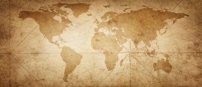 Sticker Ancienne carte du monde sur un vieux fond de parchemin. Style vintage. Éléments de cette image fournie par la NASA.