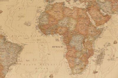 Sticker Ancienne carte géographique de l'Afrique avec les noms des pays