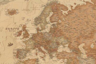 Sticker Ancienne carte géographique de l'Europe avec les noms des pays