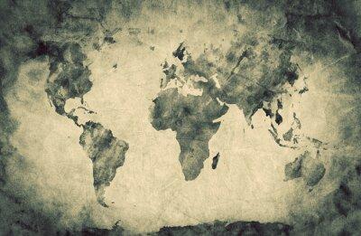 Sticker Ancienne, vieille carte du monde. Pencil sketch, vintage background