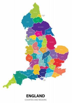 Sticker Angleterre Carte avec les Régions