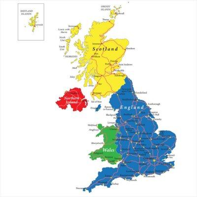Angleterre, Ecosse, Pays de Galles et l'Irlande du Nord carte