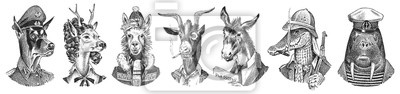 Sticker Animal characters set. Smoking Goat Llama skier Deer lady Walrus Crocodile Dog Donkey Alpaca. Hand drawn portrait. Engraved monochrome sketch for card, label or tattoo. Hipster Anthropomorphism.