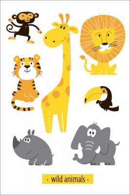 Sticker Animals vector set. Cartoon Monkey, giraffe, lion, hippo, elephant, tiger, toucan pirate. Perfect for wallpaper,print,packaging,invitations,Baby shower,birthday party,patterns,travel,logos etc