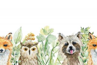 Sticker Animals watercolor illustration