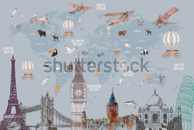Sticker Animals world map and famous landmarks of the world for kids wallpaper design