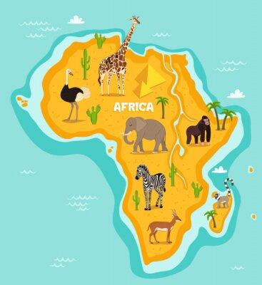 Sticker Animaux africains illustration vectorielle animaux sauvages. Faune africaine, autruche, girafe, éléphant, singe, zèbre, lémur, antilope en dessin animé. Continent africain, bleu, océan, sauvage, anima
