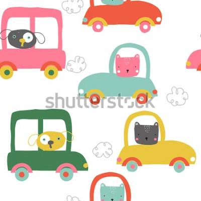 Sticker Animaux drôles en jacquard sans soudure de voitures. Enfants mignons imprimer. Illustration de vecteur dessinés à la main.