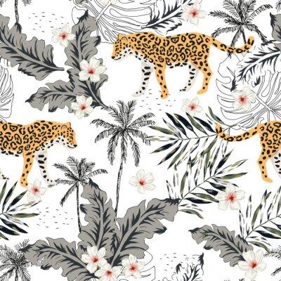 Sticker Animaux léopards tropicaux, fleurs de plumeria, feuilles de palmier, arbres, fond blanc. Modèle sans couture de vecteur. Illustration graphique Design floral de plage d'été. Plantes de la jungle exoti