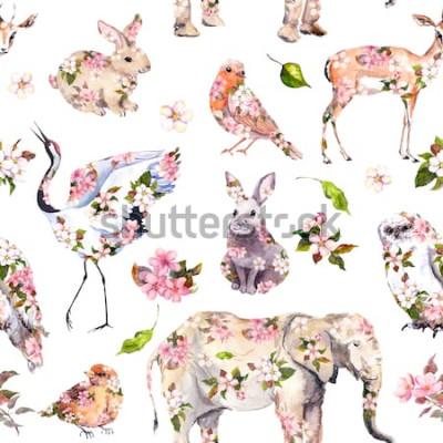 Sticker Animaux mignons en fleurs de printemps roses. Floral pattern sans soudure. Aquarelle féminine et féminine