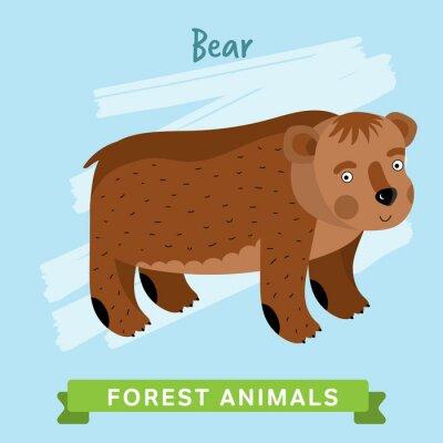 Sticker Animaux sauvages et forestiers. Illustration de personnages de bande dessinée. Animal drôle.