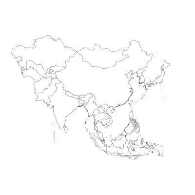 Sticker Aperçu sur fond propre du continent de l'Asie