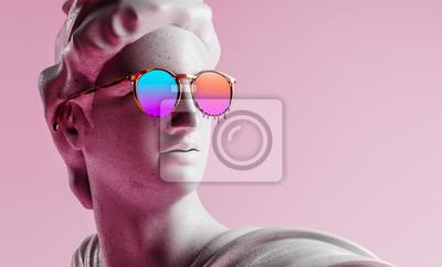 Sticker Apollo style design background vaporwave concept. 3d Rendering.
