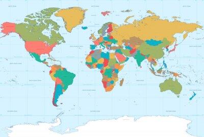 Sticker Appartement Couleurs Carte du monde