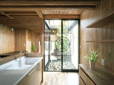 Appartement De Luxe En Bois Holzhaus Mit Terrasse Stickers Pc
