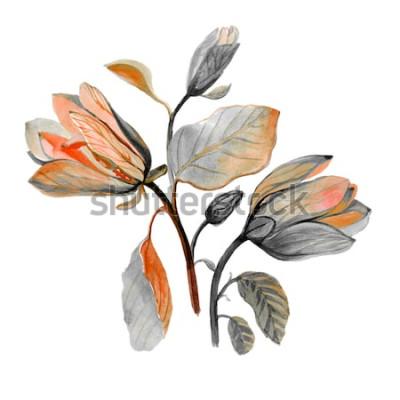 Sticker Aquarelle à la main dessinée belle fleur de magnolia. Composition de fleurs d'automne vert. Bouquet d'automne.