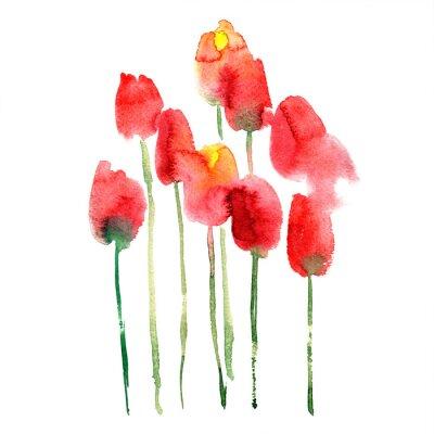 Sticker Aquarelle à la main peint des tulipes rouges et jaunes