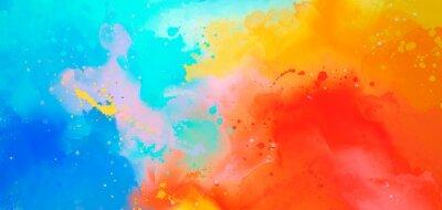 Sticker aquarelle abstraite lumineux, dessin sur une image de papier