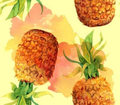 Sticker Aquarelle ananas motif de fond sans soudure