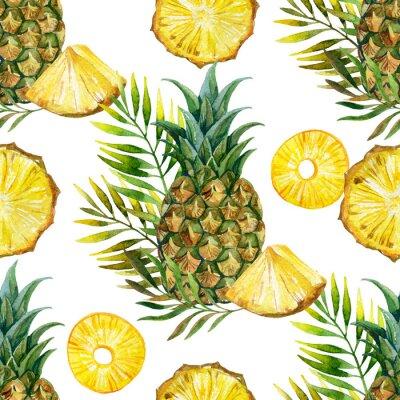 Sticker Aquarelle, ananas, seamless, modèle