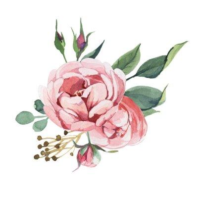 Sticker Aquarelle bouquet de fleurs de pivoine et de fleurs isoler sur fond blanc pour mariage, invitation, cartes de la Saint-Valentin et impressions