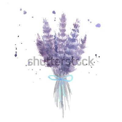 Sticker Aquarelle bouquet de lavande. Croquis de fleurs de lavande avec ruban bleu et éclaboussures d'aquarelle. Illustration vectorielle isolé