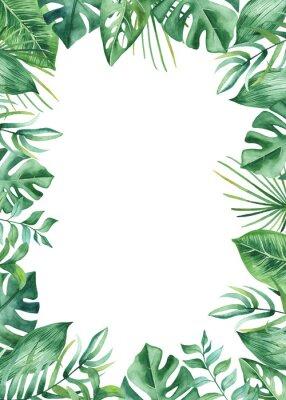 Sticker Aquarelle cadre avec des feuilles et des fleurs tropicales, taches d'aquarelle. Motif doré, rond et polygonal pour des conceptions de cartes, des invitations, de mariage et d'été.