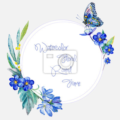 Aquarelle cadre rond de fleurs bleues et papillon.