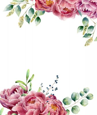 Sticker Aquarelle carte florale isolé sur fond blanc. Style vintage posy mis avec des branches d'eucalyptus, la pivoine, les baies, la verdure et les feuilles. Fleur peinte à la main